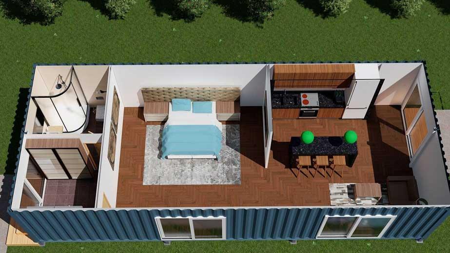 Rumah Kontainer Ukuran 40 Feet dengan 2 Unit Kontainer Menjadi 1 Bangunan